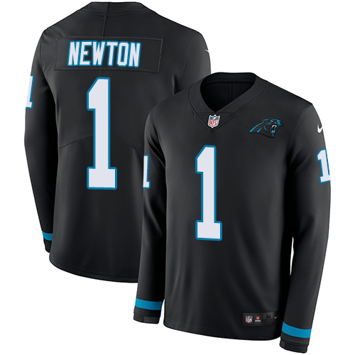 Nike Panthers #1 Cam Newton Black Team Color Men's Stitched NFL Limited Therma Long Sleeve Jersey