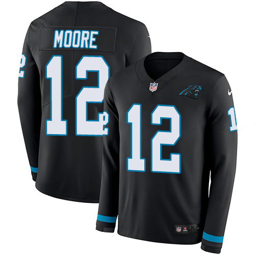 Nike Panthers #12 DJ Moore Black Team Color Men's Stitched NFL Limited Therma Long Sleeve Jersey