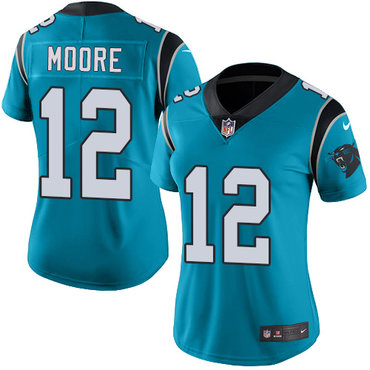 Nike Panthers #12 DJ Moore Blue Alternate Women's Stitched NFL Vapor Untouchable Limited Jersey