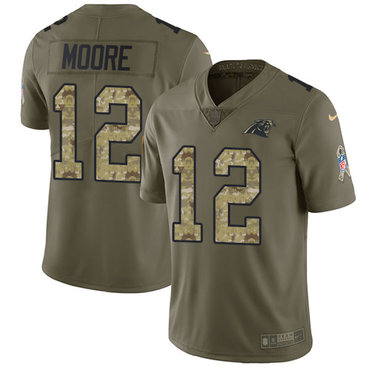 Nike Panthers #12 DJ Moore Olive Camo Youth Stitched NFL Limited 2017 Salute to Service Jersey
