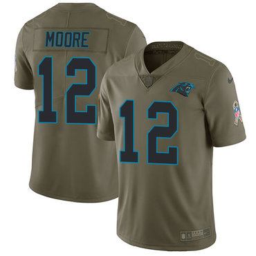 Nike Panthers #12 DJ Moore Olive Youth Stitched NFL Limited 2017 Salute to Service Jersey