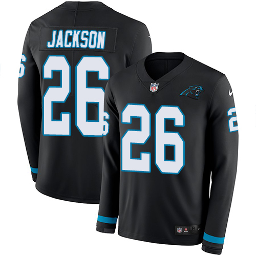 Nike Panthers #26 Donte Jackson Black Team Color Men's Stitched NFL Limited Therma Long Sleeve Jersey