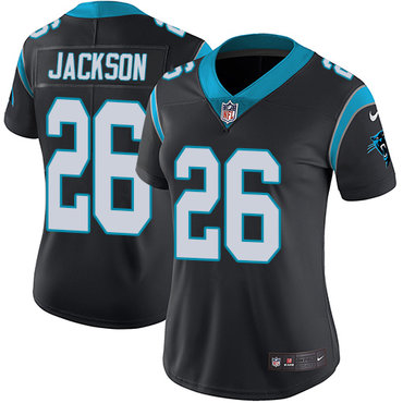 Nike Panthers #26 Donte Jackson Black Team Color Women's Stitched NFL Vapor Untouchable Limited Jersey