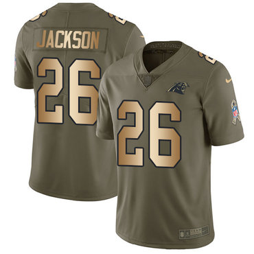 Nike Panthers #26 Donte Jackson Olive Gold Youth Stitched NFL Limited 2017 Salute to Service Jersey