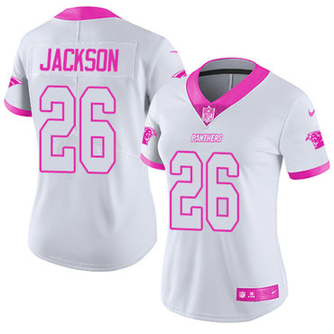Nike Panthers #26 Donte Jackson White Pink Women's Stitched NFL Limited Rush Fashion Jersey