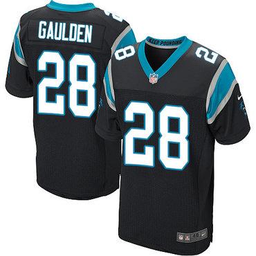Nike Panthers #28 Rashaan Gaulden Black Team Color Men's Stitched NFL Elite Jersey
