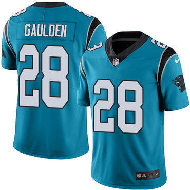 Nike Panthers #28 Rashaan Gaulden Blue Men's Stitched NFL Limited Rush Jersey