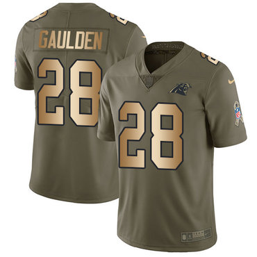 Nike Panthers #28 Rashaan Gaulden Olive Gold Men's Stitched NFL Limited 2017 Salute To Service Jersey
