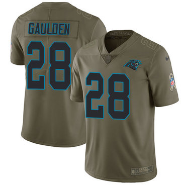 Nike Panthers #28 Rashaan Gaulden Olive Men's Stitched NFL Limited 2017 Salute To Service Jersey