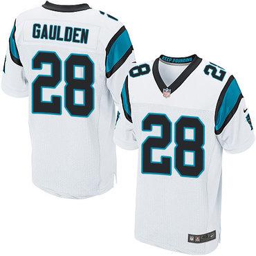 Nike Panthers #28 Rashaan Gaulden White Men's Stitched NFL Elite Jersey