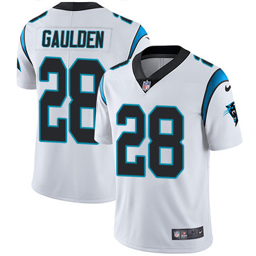 Nike Panthers #28 Rashaan Gaulden White Men's Stitched NFL Vapor Untouchable Limited Jersey