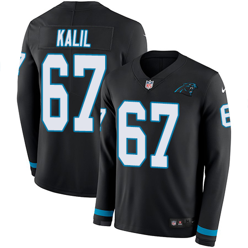 Nike Panthers #67 Ryan Kalil Black Team Color Men's Stitched NFL Limited Therma Long Sleeve Jersey