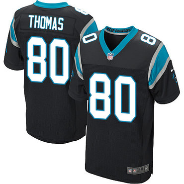 Nike Panthers #80 Ian Thomas Black Team Color Men's Stitched NFL Elite Jersey