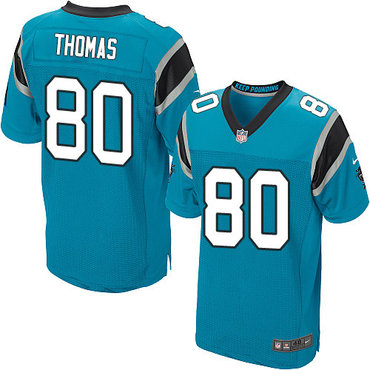 Nike Panthers #80 Ian Thomas Blue Alternate Men's Stitched NFL Elite Jersey