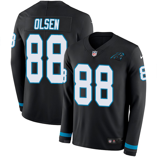 Nike Panthers #88 Greg Olsen Black Team Color Men's Stitched NFL Limited Therma Long Sleeve Jersey