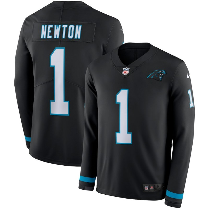 Nike Panthers 1 Cam Newton Black Therma Long Sleeve Jersey
