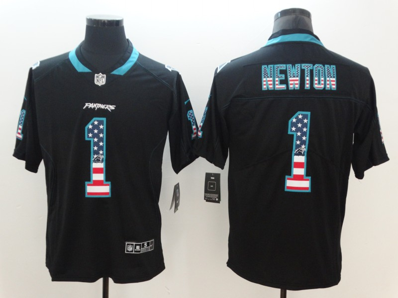 Nike Panthers 1 Cam Newton Black USA Flag Fashion Color Rush Limited Jersey