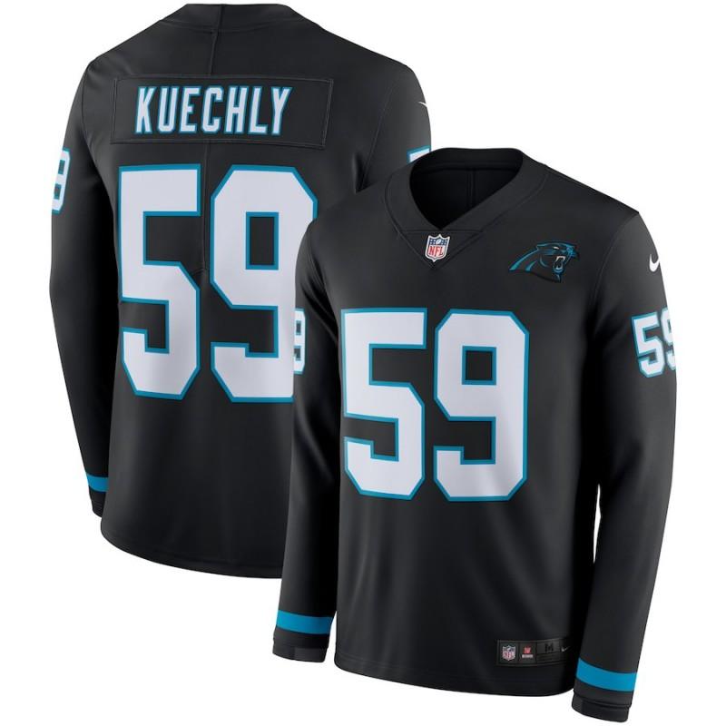 Nike Panthers 59 Luke Kuechly Black Therma Long Sleeve Jersey