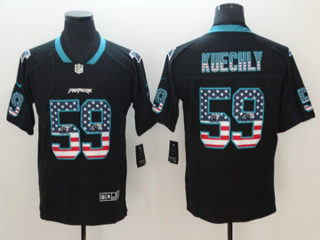 Nike Panthers 59 Luke Kuechly Black USA Flag Color Rush Limited Jersey