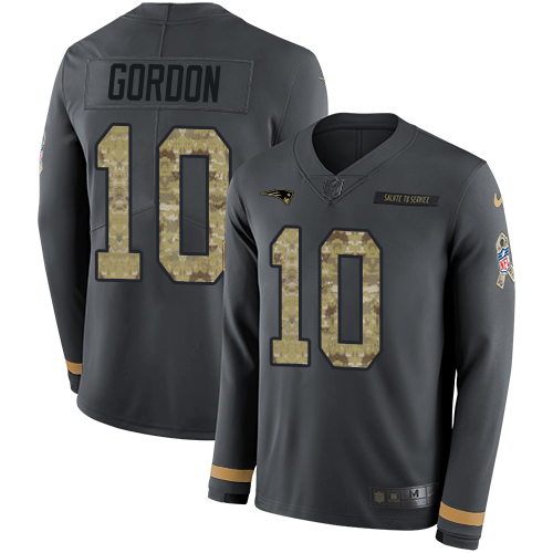 Nike Patriots #10 Josh Gordon Anthracite Salute to Service Men's Stitched NFL Limited Therma Long Sleeve Jersey