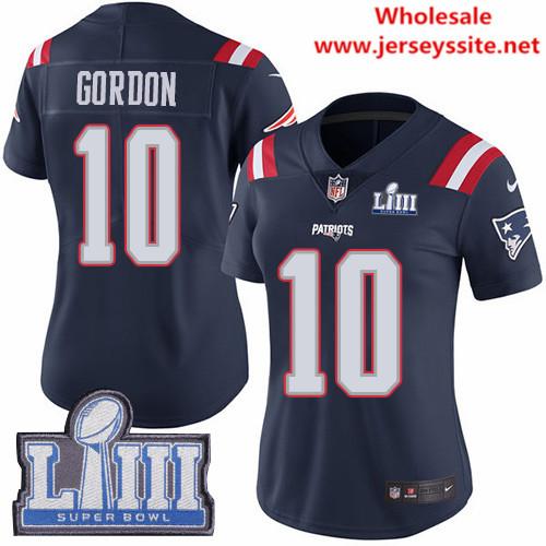 Nike Patriots #10 Josh Gordon Navy Blue Super Bowl LIII Bound Women's Stitched NFL Limited
