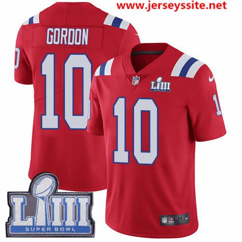 Nike Patriots #10 Josh Gordon Red Alternate Super Bowl LIII Bound Men's Stitched NFL Vapor Untouchable Limited Jersey
