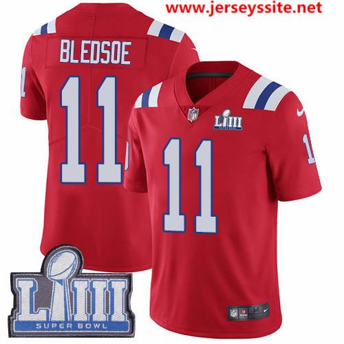 Nike Patriots #11 Drew Bledsoe Red Alternate Super Bowl LIII Bound Men's Stitched NFL Vapor Untouchable Limited Jersey