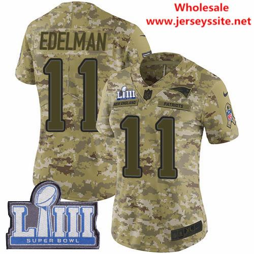Nike Patriots #11 Julian Edelman Camo Super Bowl LIII Bound Women's Stitched NFL Limited  0