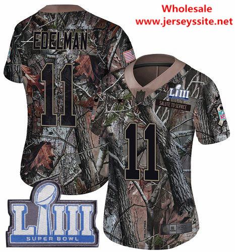 Nike Patriots #11 Julian Edelman Camo Super Bowl LIII Bound Women's Stitched NFL Limited