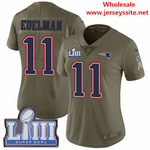 Nike Patriots #11 Julian Edelman Olive Super Bowl LIII Bound Women's Stitched NFL Limited 2017 Salute to Service Jersey