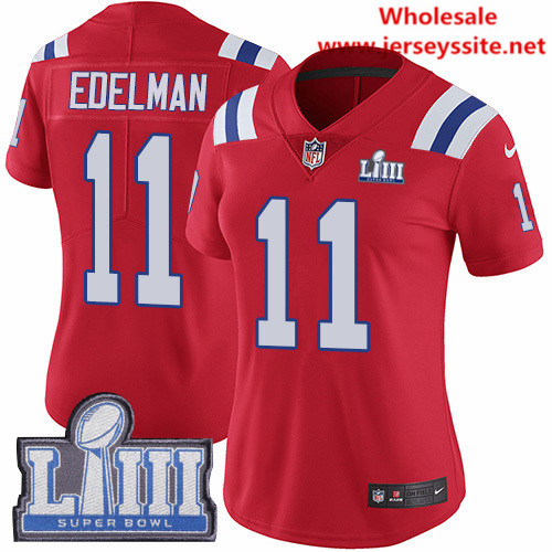 Nike Patriots #11 Julian Edelman Red Alternate Super Bowl LIII Bound Women's Stitched NFL