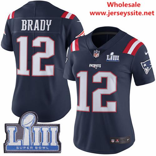 Nike Patriots #12 Tom Brady Navy Blue Super Bowl LIII Bound Women's Stitched NFL Limited