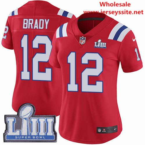 Nike Patriots #12 Tom Brady Red Alternate Super Bowl LIII Bound Women's Stitched NFL Vapor