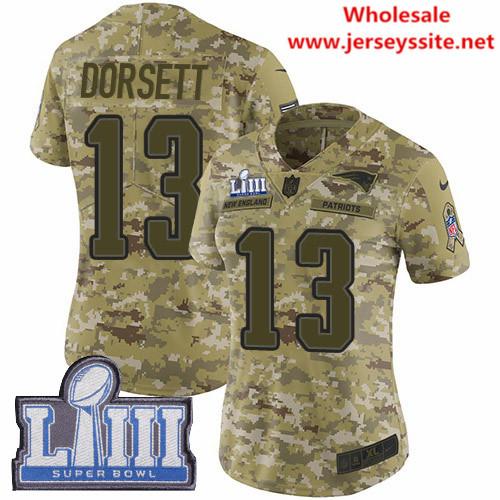 Nike Patriots #13 Phillip Dorsett Camo Super Bowl LIII Bound Women's Stitched NFL Limited  0