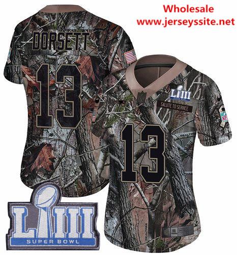 Nike Patriots #13 Phillip Dorsett Camo Super Bowl LIII Bound Women's Stitched NFL Limited