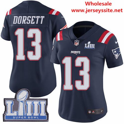 Nike Patriots #13 Phillip Dorsett Navy Blue Super Bowl LIII Bound Women's Stitched NFL Limited
