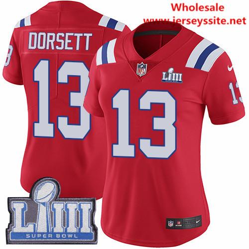 Nike Patriots #13 Phillip Dorsett Red Alternate Super Bowl LIII Bound Women's Stitched NFL