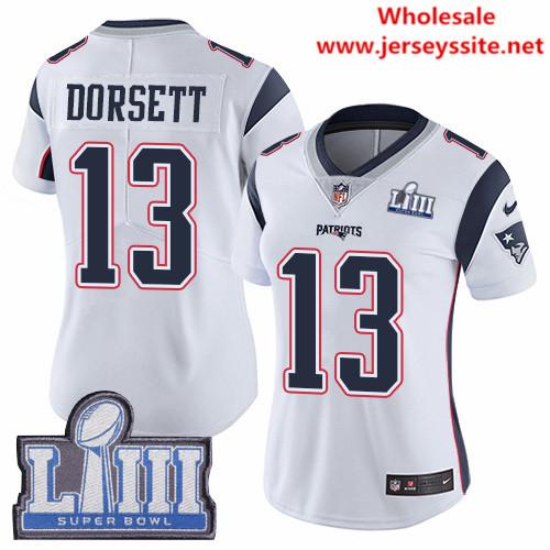 Nike Patriots #13 Phillip Dorsett White Super Bowl LIII Bound Women's Stitched NFL Vapor