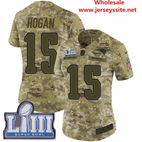 Nike Patriots #15 Chris Hogan Camo Super Bowl LIII Bound Women's Stitched NFL Limited 2018 Salute to Service Jersey