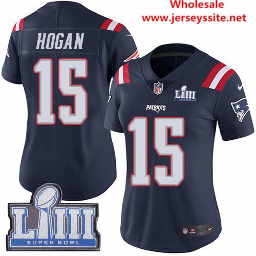 Nike Patriots #15 Chris Hogan Navy Blue Super Bowl LIII Bound Women's Stitched NFL Limited
