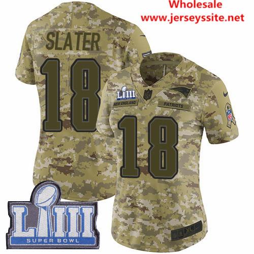 Nike Patriots #18 Matt Slater Camo Super Bowl LIII Bound Women's Stitched NFL Limited  0