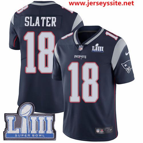 Nike Patriots #18 Matt Slater Navy Blue Team Color Super Bowl LIII Bound Men's Stitched NFL Vapor Untouchable Limited Jersey