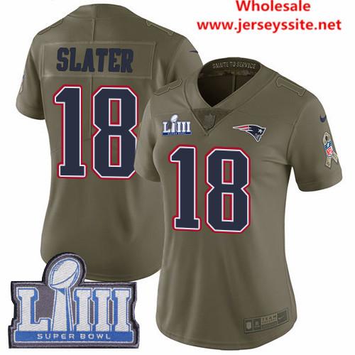 Nike Patriots #18 Matt Slater Olive Super Bowl LIII Bound Women's Stitched NFL Limited
