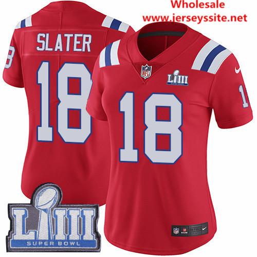 Nike Patriots #18 Matt Slater Red Alternate Super Bowl LIII Bound Women's Stitched NFL Vapor