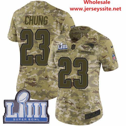 Nike Patriots #23 Patrick Chung Camo Super Bowl LIII Bound Women's Stitched NFL Limited   0