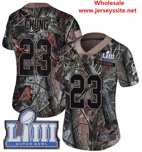 Nike Patriots #23 Patrick Chung Camo Super Bowl LIII Bound Women's Stitched NFL Limited