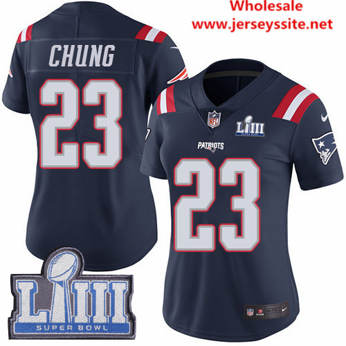 Nike Patriots #23 Patrick Chung Navy Blue Super Bowl LIII Bound Women's Stitched NFL Limited