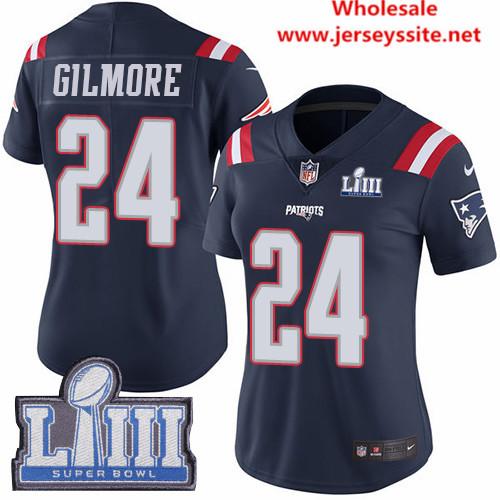 Nike Patriots #24 Stephon Gilmore Navy Blue Super Bowl LIII Bound Women's Stitched NFL