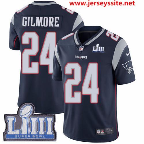 Nike Patriots #24 Stephon Gilmore Navy Blue Team Color Super Bowl LIII Bound Men's Stitched NFL Vapor Untouchable Limited Jersey