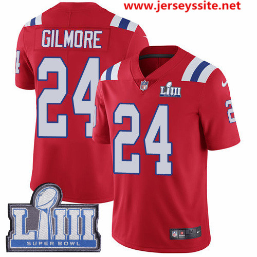 Nike Patriots #24 Stephon Gilmore Red Alternate Super Bowl LIII Bound Men's Stitched NFL Vapor Untouchable Limited Jersey
